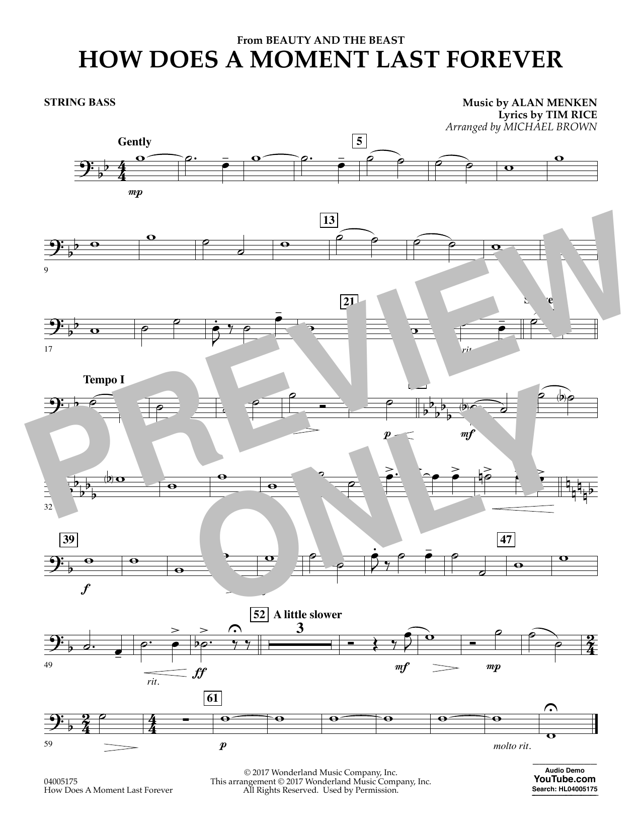 How Does a Moment Last Forever (from Beauty and the Beast) - String Bass (Concert Band)