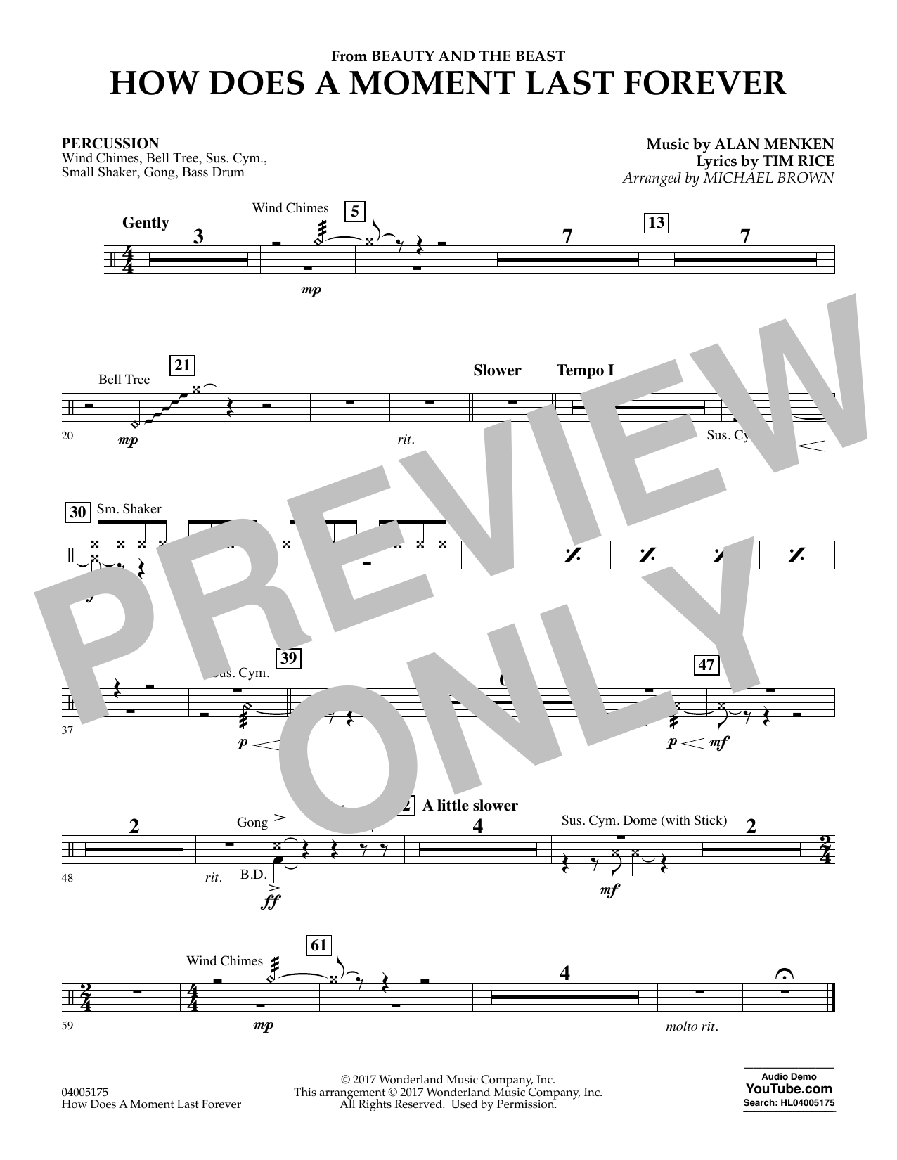 How Does a Moment Last Forever (from Beauty and the Beast) - Percussion (Concert Band)