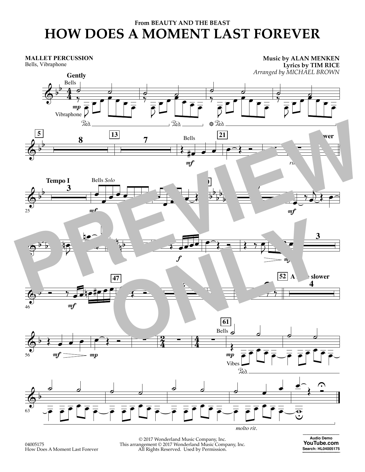 How Does a Moment Last Forever (from Beauty and the Beast) - Mallet Percussion (Concert Band)