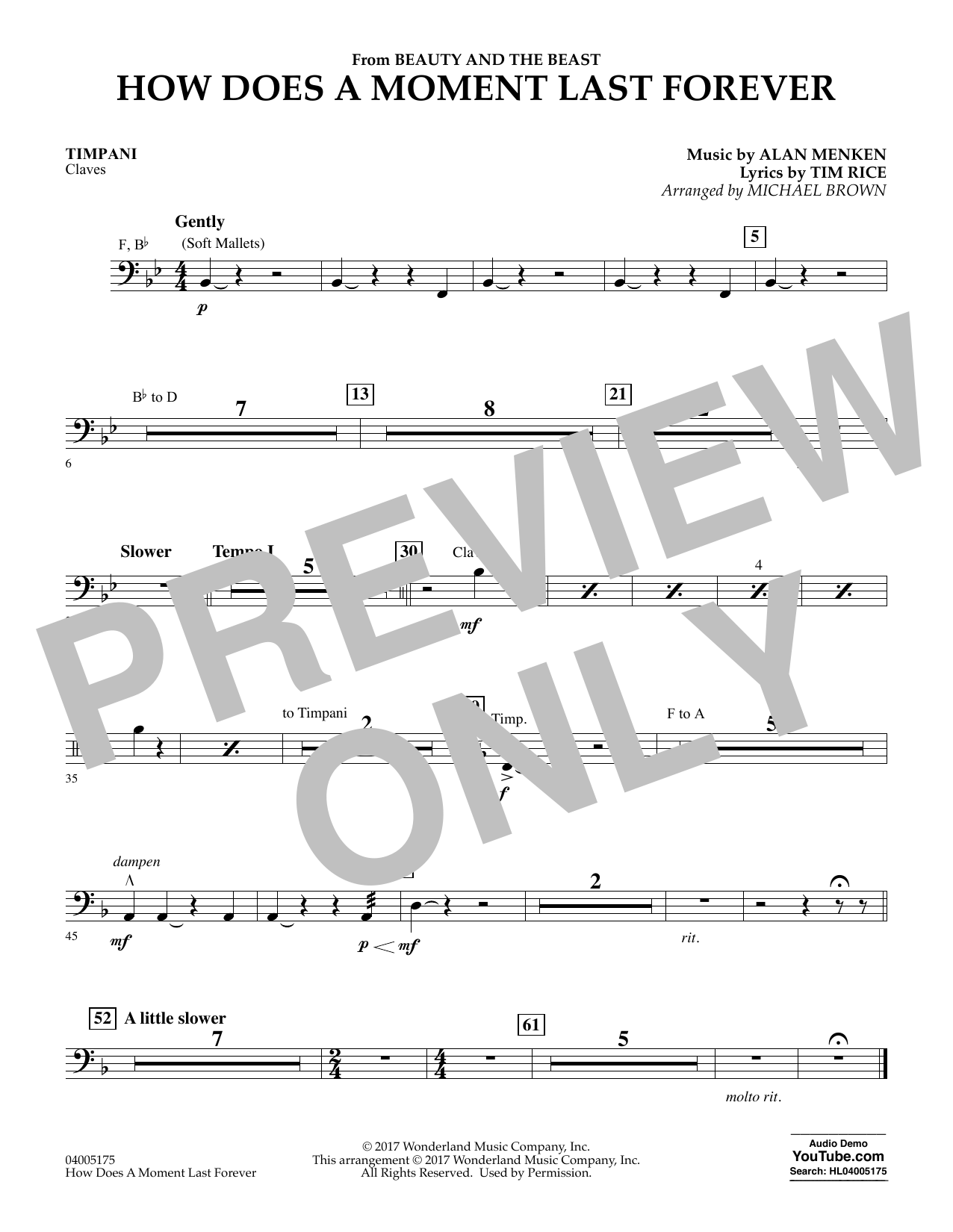How Does a Moment Last Forever (from Beauty and the Beast) - Timpani (Concert Band)