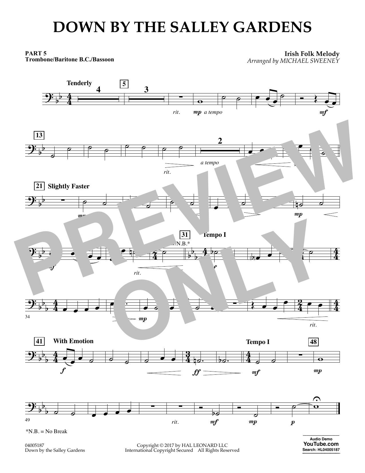 Down by the Salley Gardens - Pt.5 - Trombone/Bar. B.C./Bsn. (Flex-Band)
