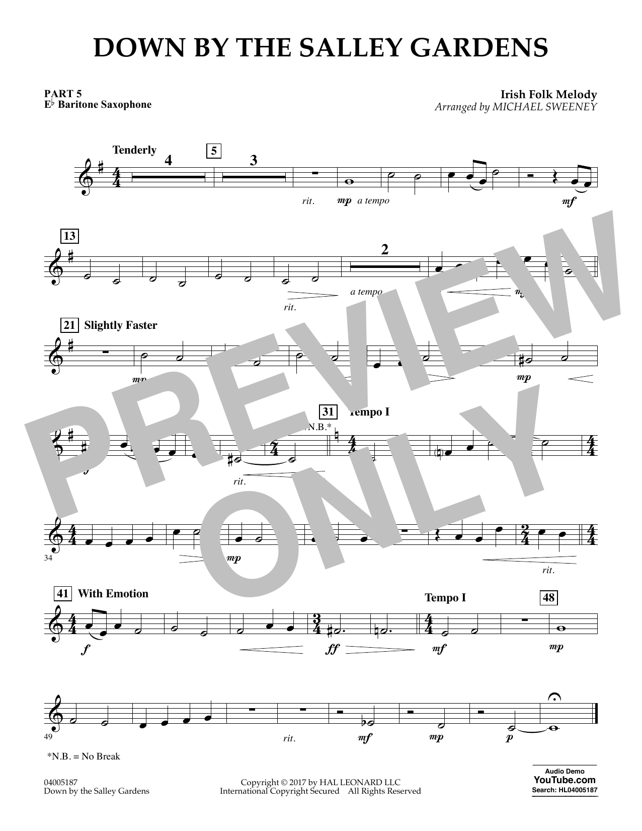 Down by the Salley Gardens - Pt.5 - Eb Baritone Saxophone (Flex-Band)