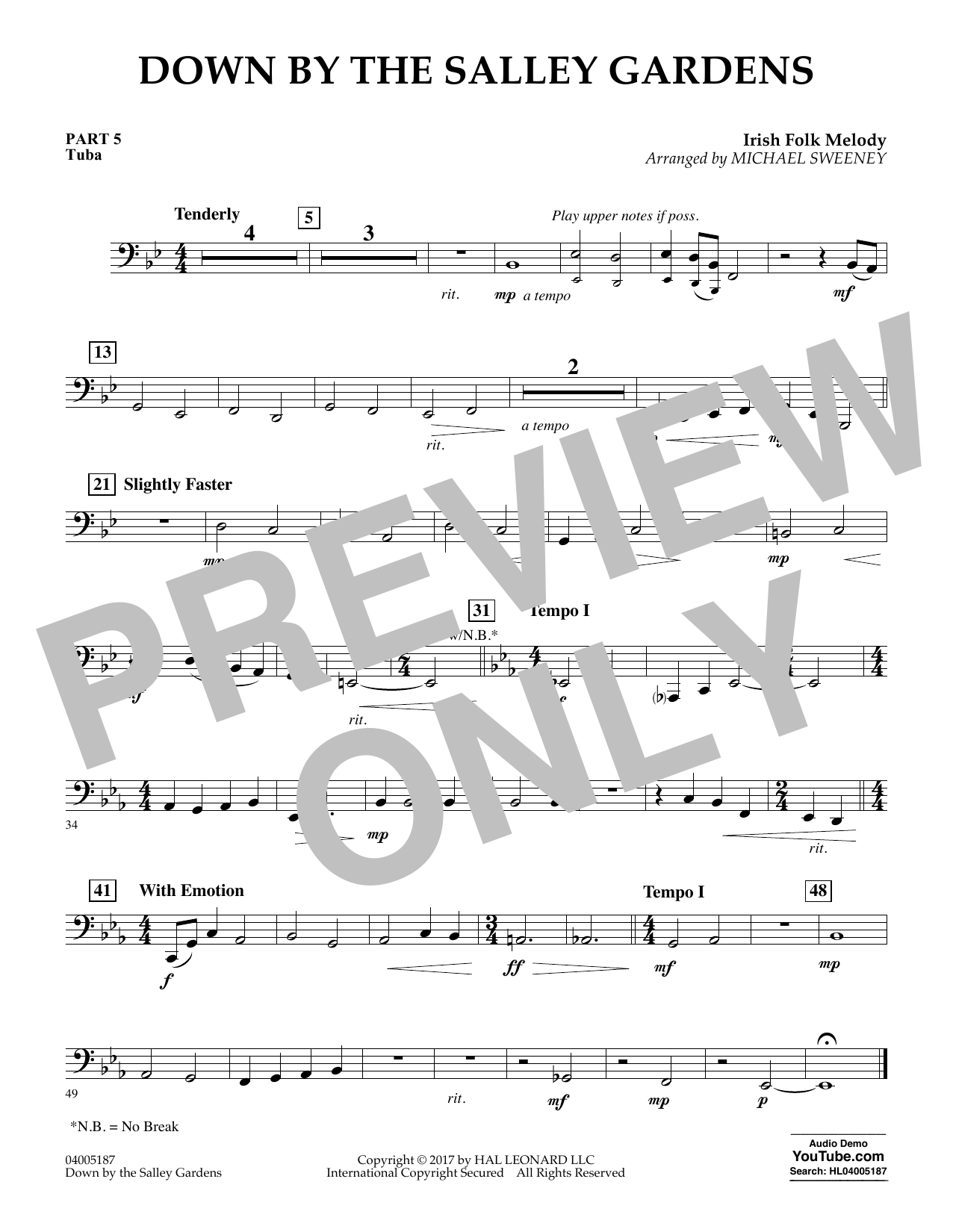Down by the Salley Gardens - Pt.5 - Tuba (Flex-Band)