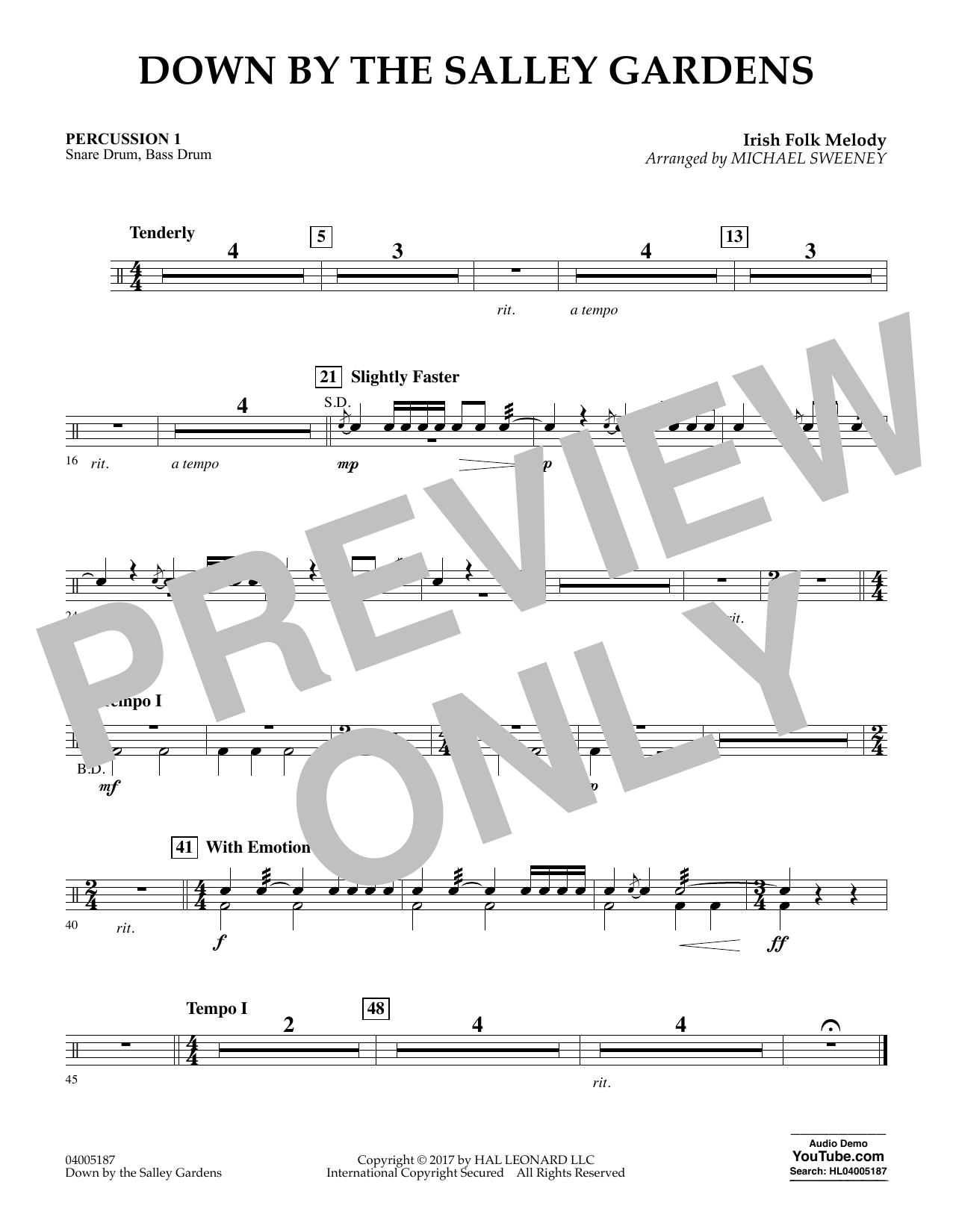 Down by the Salley Gardens - Percussion 1 (Flex-Band)