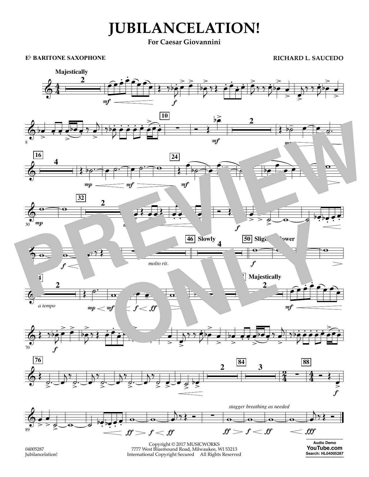 Jubilancelation! - Eb Baritone Saxophone (Concert Band)