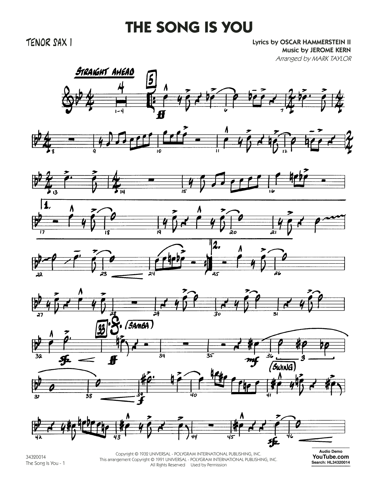 The Song Is You - Tenor Sax 1 (Jazz Ensemble)
