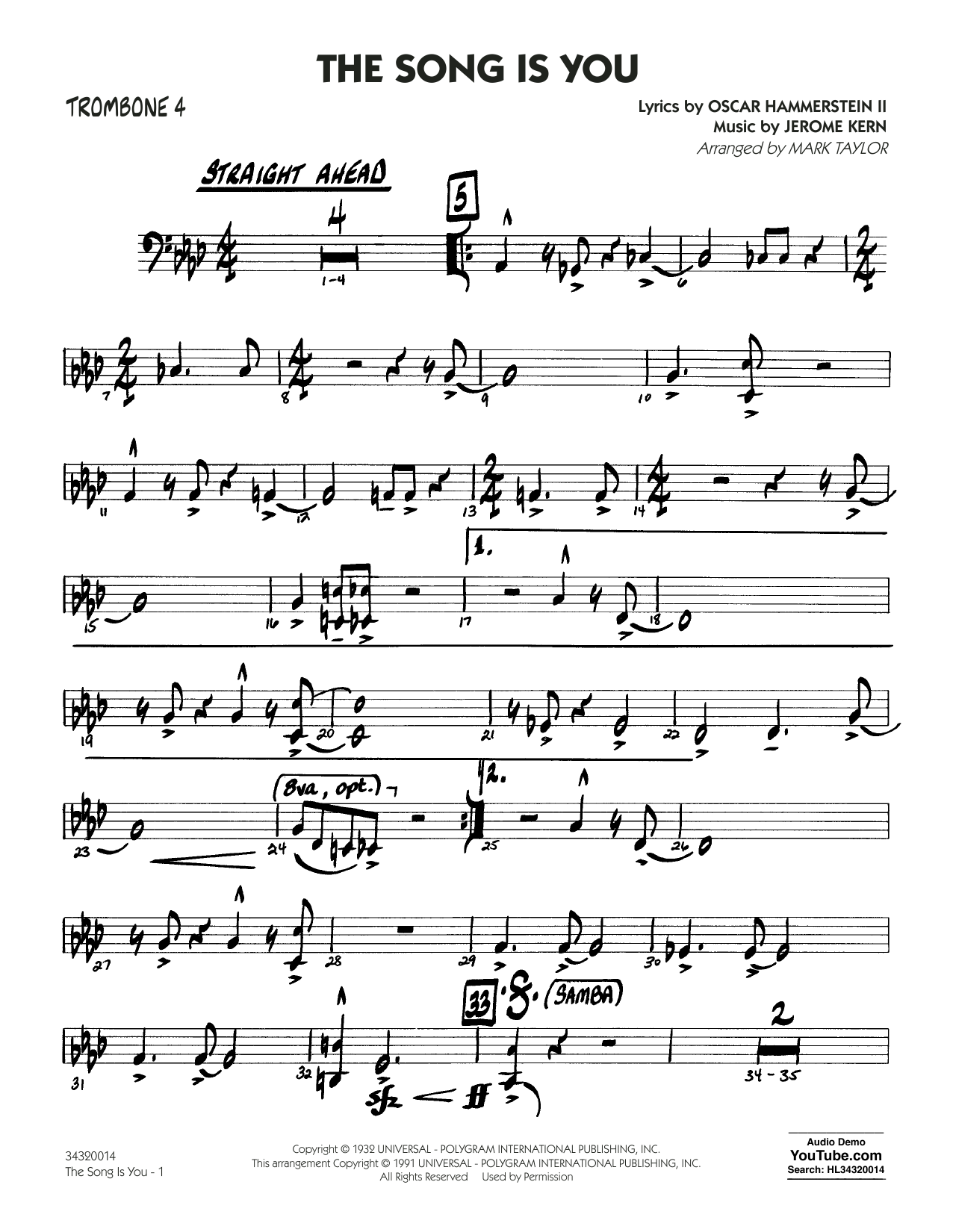 The Song Is You - Trombone 4 (Jazz Ensemble)