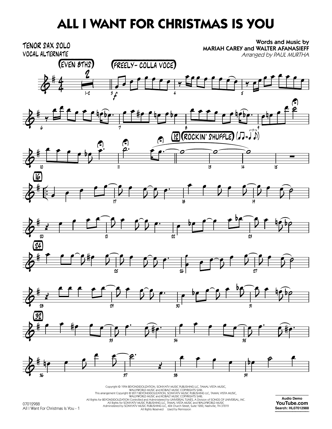 all i want for christmas is you tenor sax solo vocal alt sheet music to download - All I Want For Christmas Is You Youtube