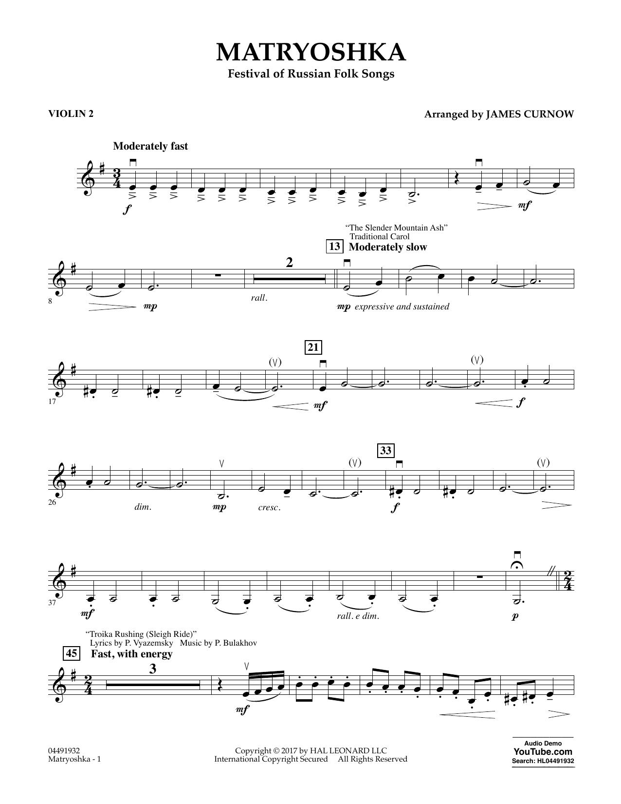 Matryoshka (Festival of Russian Folk Songs) - Violin 2