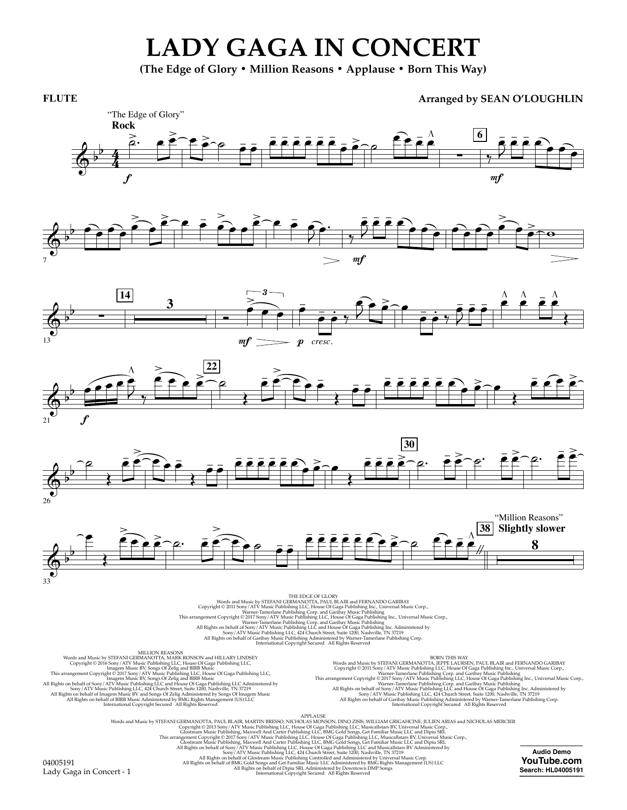 Lady Gaga in Concert - Flute (Concert Band)