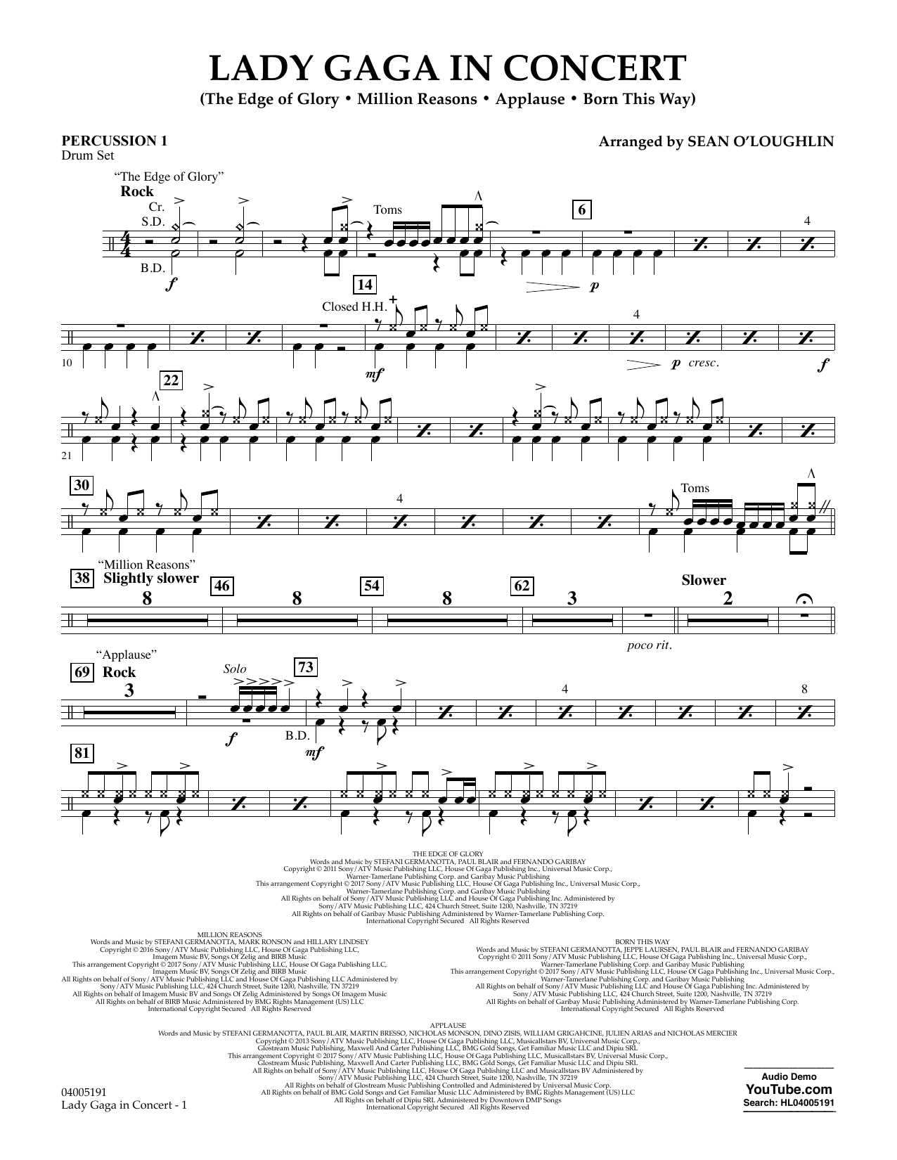 Lady Gaga in Concert - Percussion 1 (Concert Band)