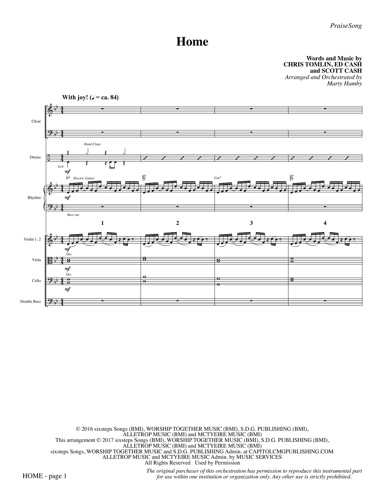 Home (COMPLETE) sheet music for orchestra/band by Marty Hamby, Chris Tomlin, Ed Cash and Scott Cash. Score Image Preview.
