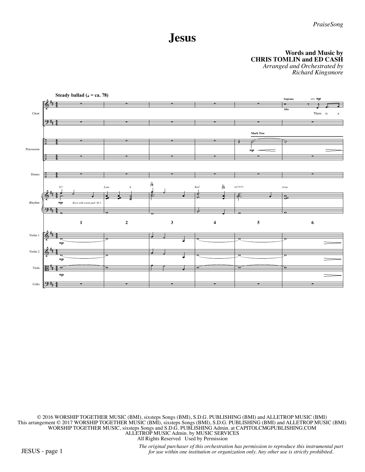 Jesus (COMPLETE) sheet music for orchestra/band by Richard Kingsmore, Chris Tomlin and Ed Cash. Score Image Preview.