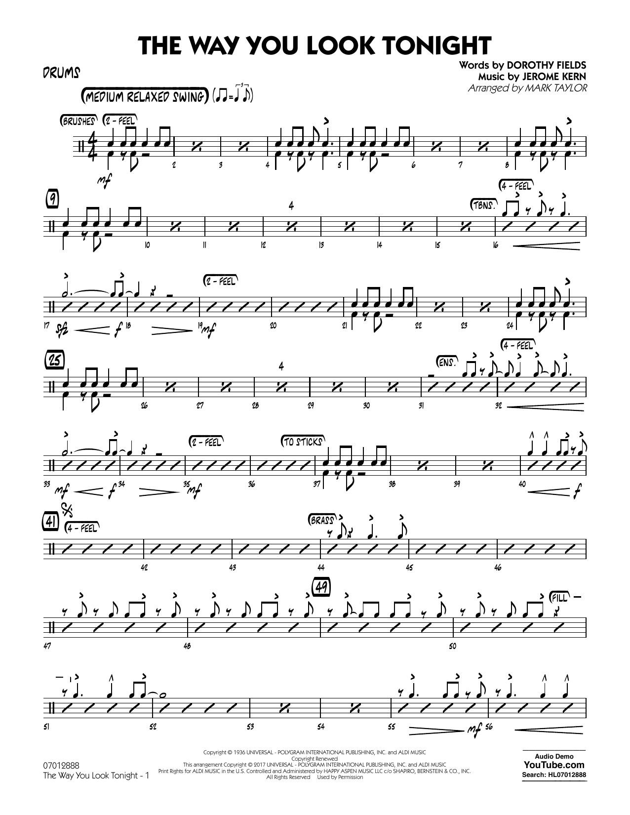 The Way You Look Tonight - Drums (Jazz Ensemble)