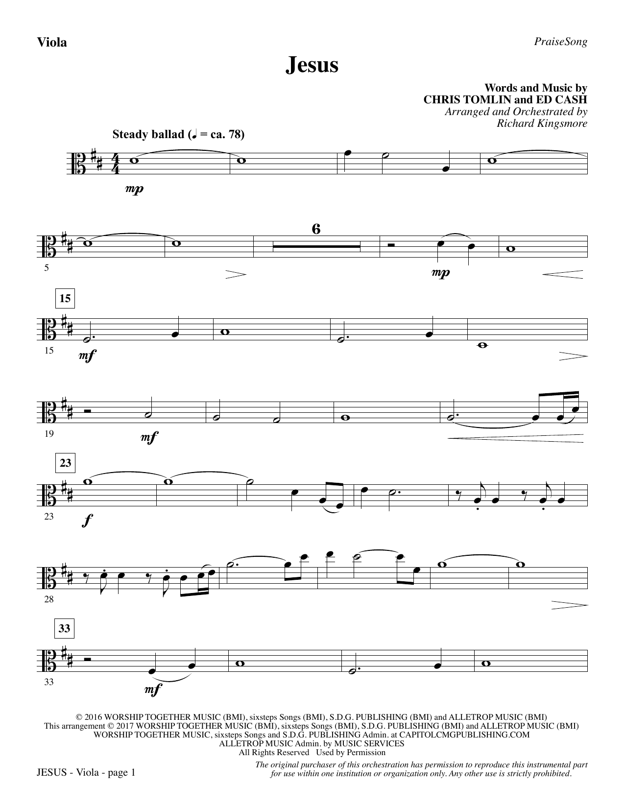 Jesus (arr. Richard Kingsmore) - Viola (Choir Instrumental Pak)