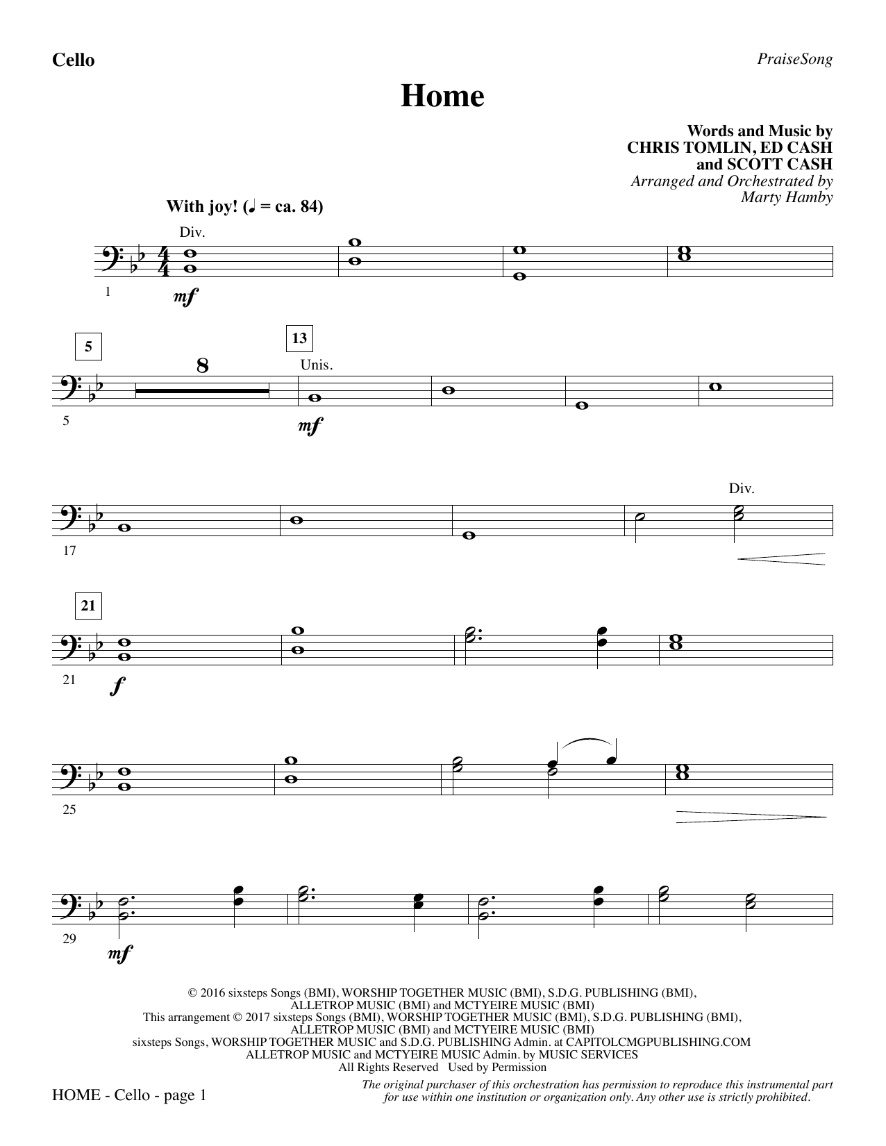 Home - Cello (Choir Instrumental Pak)