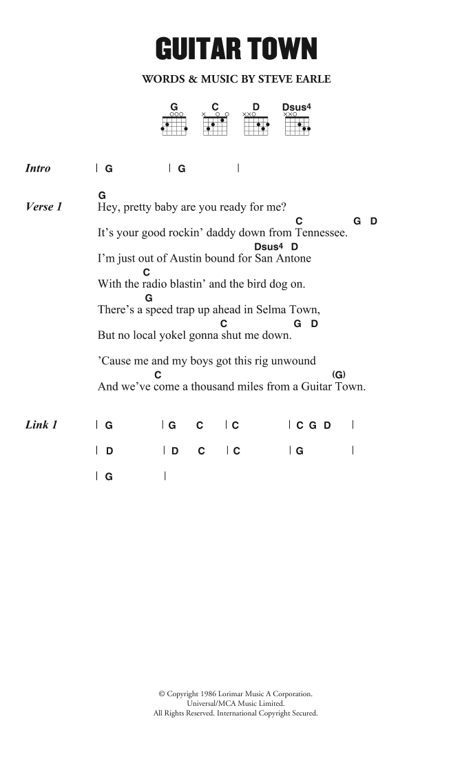 Guitar Town by Steve Earle - Guitar Chords/Lyrics - Guitar Instructor