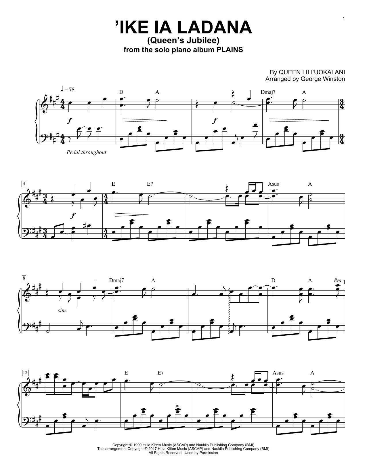 Partition piano Ike La Ladana (Queen's Jubilee) de George Winston - Piano Solo