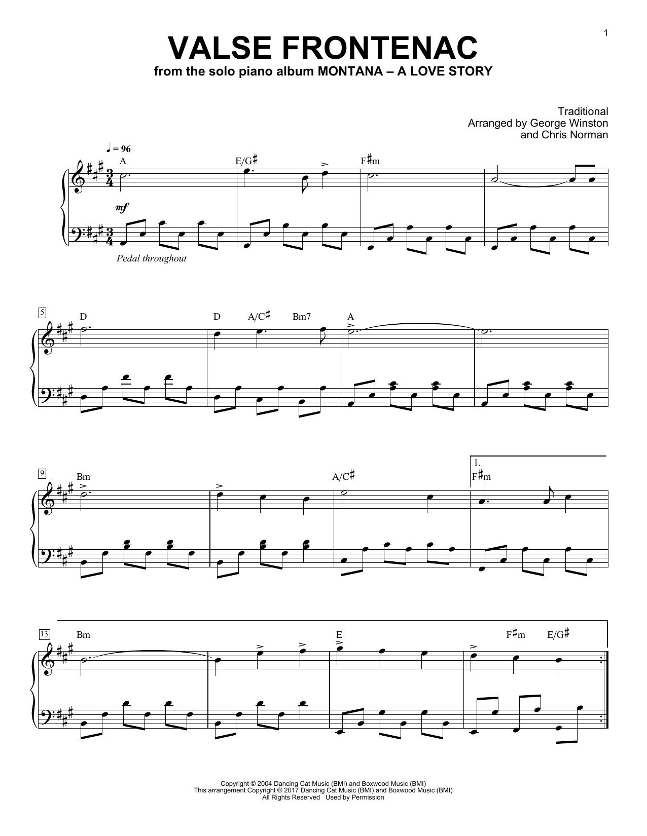 Valse De Frontenac (Piano Solo)