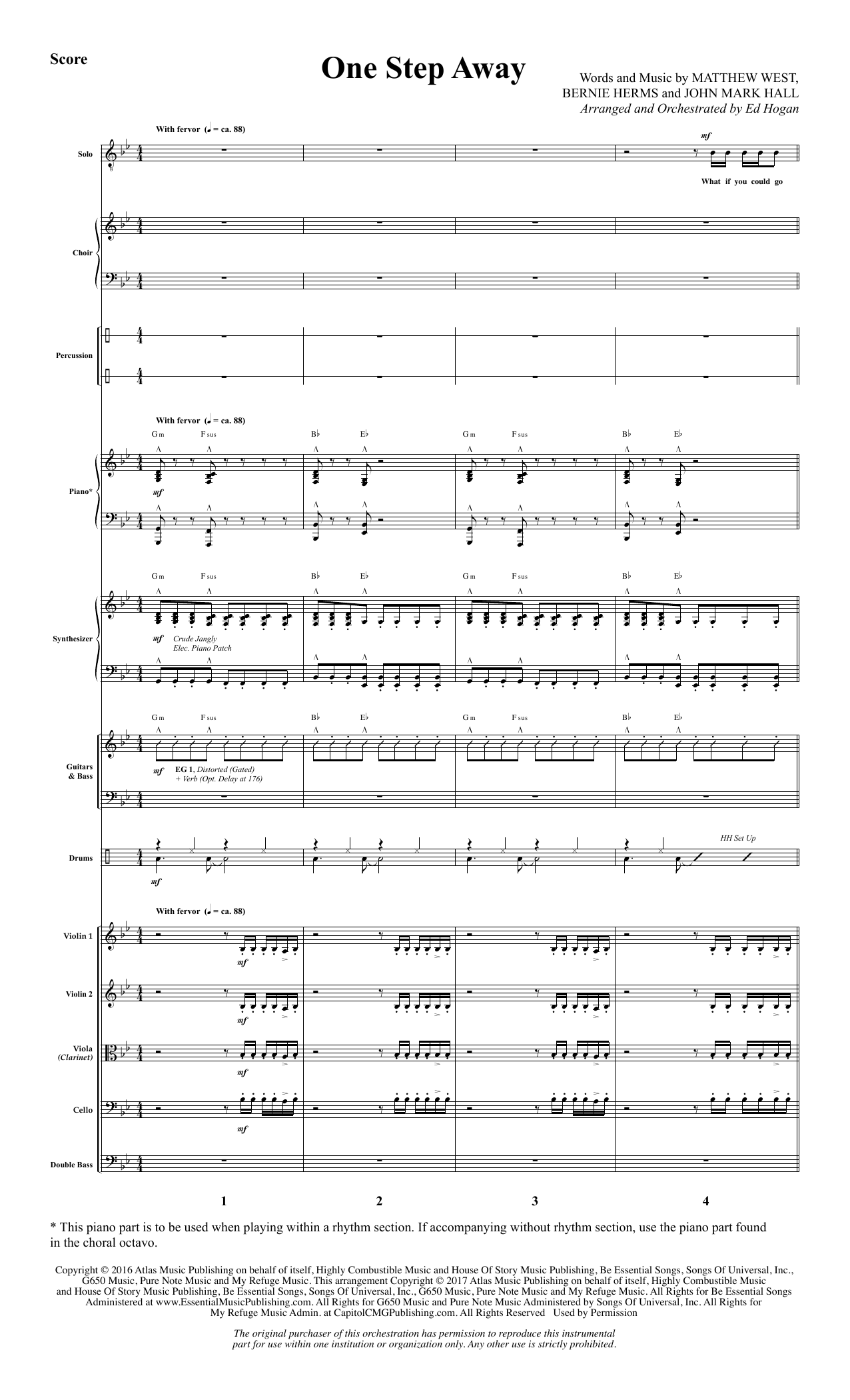 One Step Away (COMPLETE) sheet music for orchestra/band by Ed Hogan, Bernie Herms, Casting Crowns and Matthew West. Score Image Preview.
