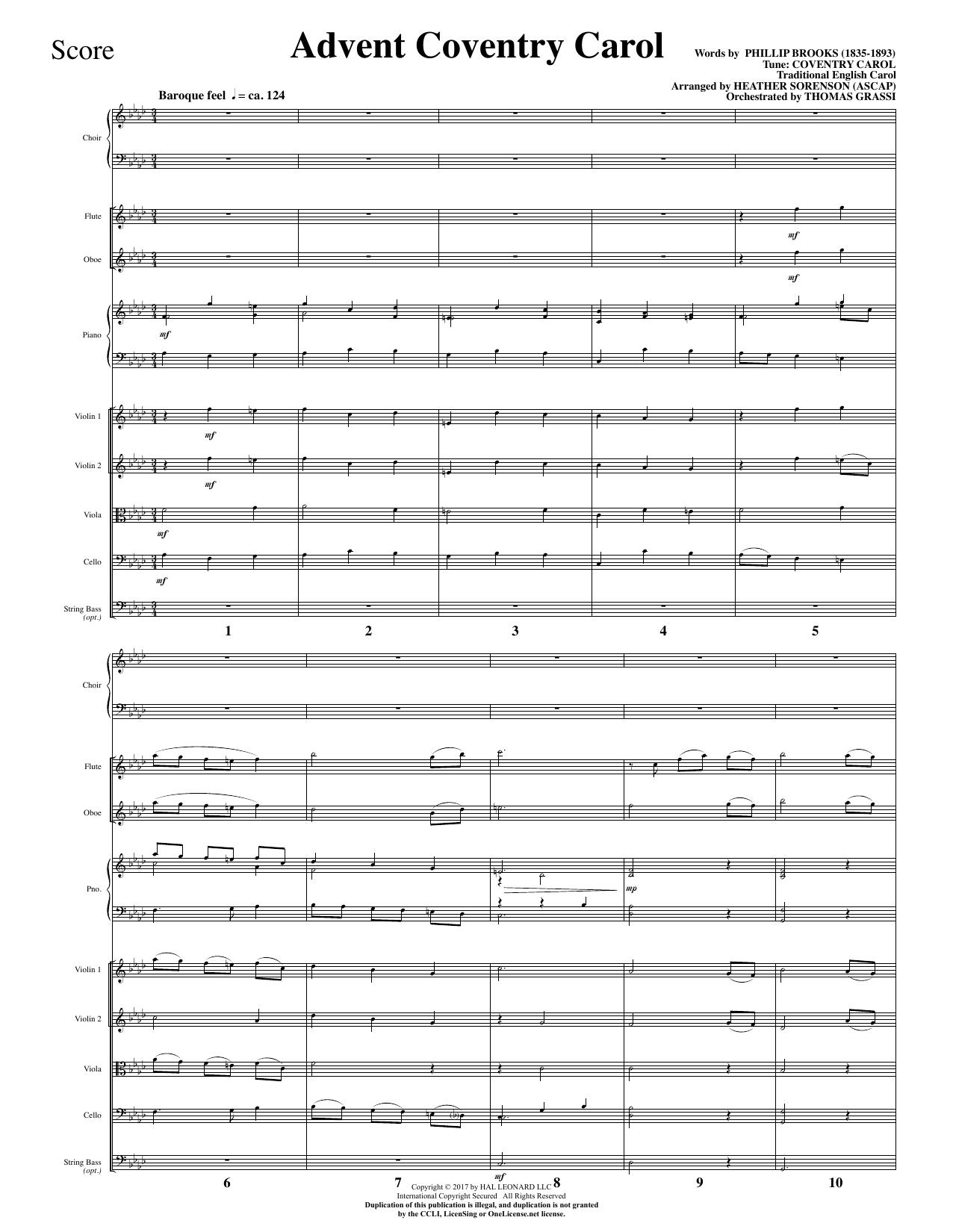 Advent Coventry Carol - Full Score (Choir Instrumental Pak)