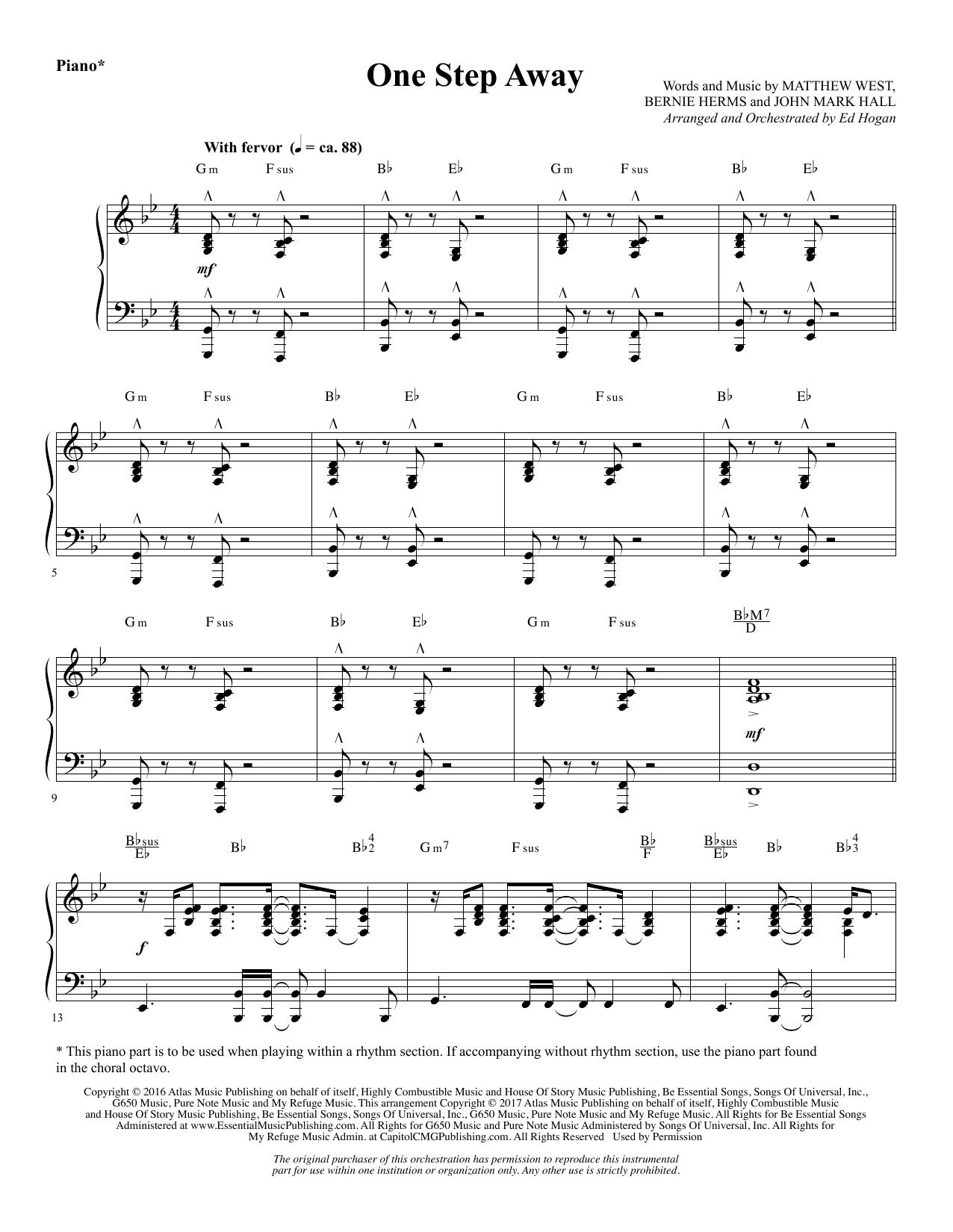 One Step Away - Piano (Choir Instrumental Pak)