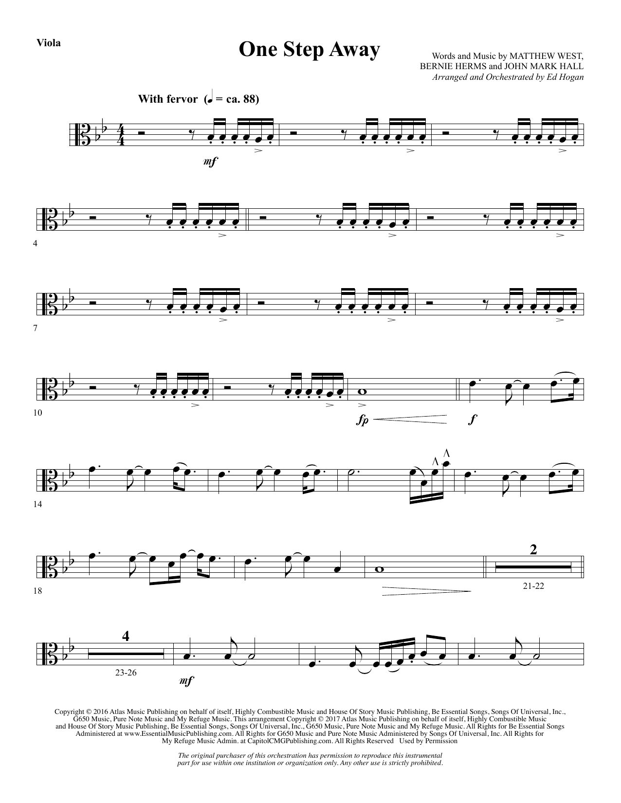 One Step Away - Viola (Choir Instrumental Pak)