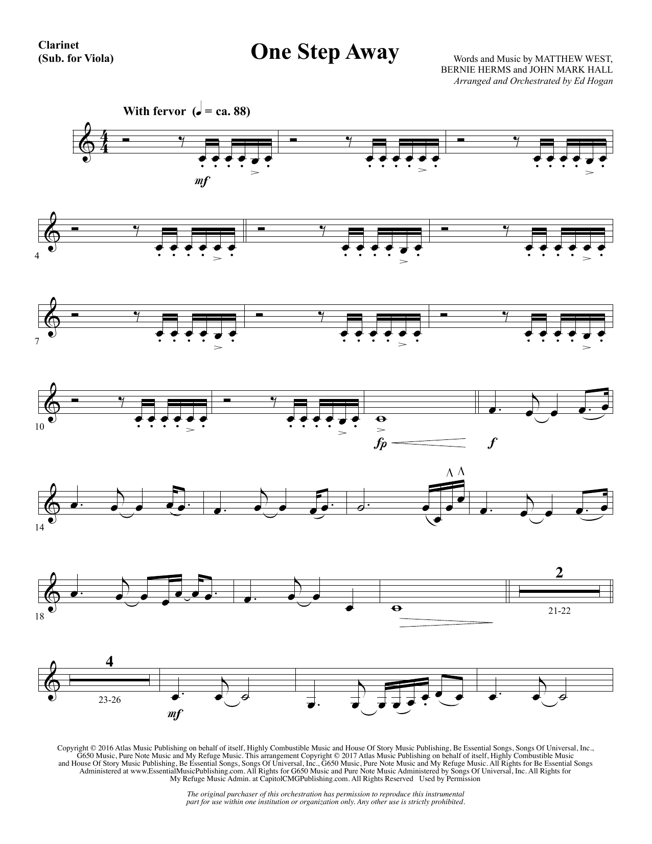One Step Away - Clarinet (sub Viola) (Choir Instrumental Pak)