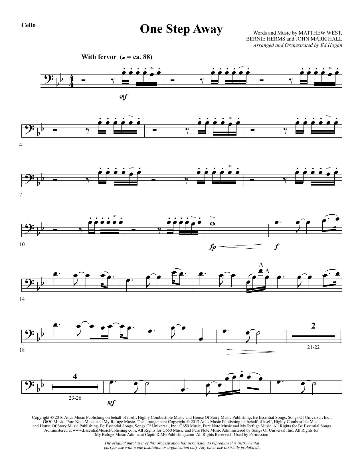 One Step Away - Cello (Choir Instrumental Pak)