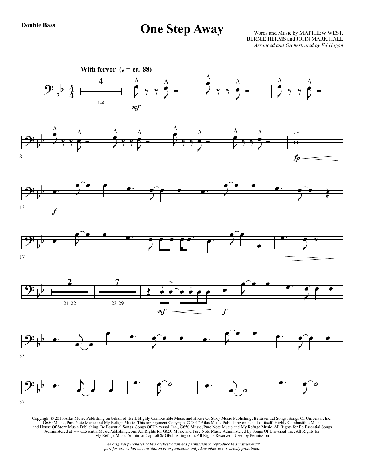 One Step Away - Double Bass (Choir Instrumental Pak)