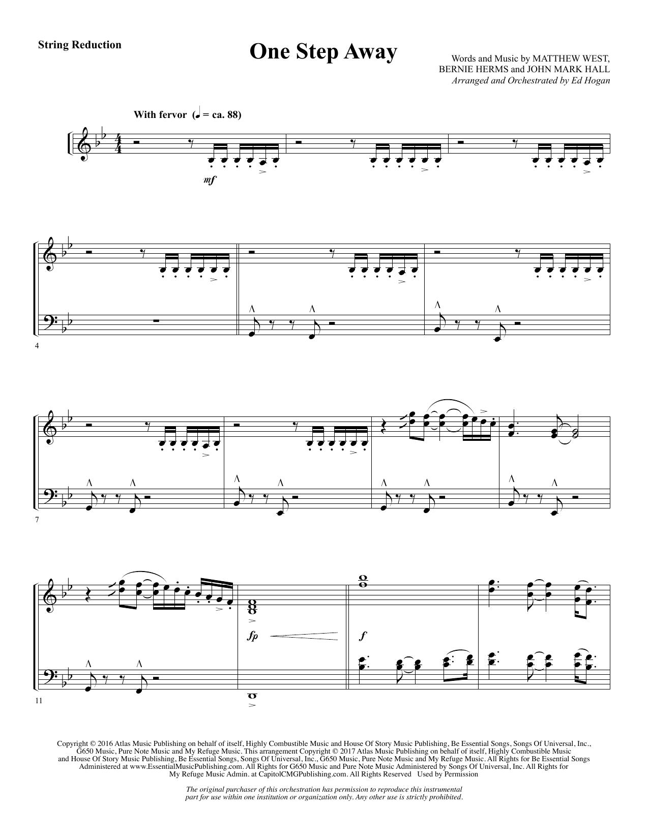 One Step Away - Keyboard String Reduction (Choir Instrumental Pak)