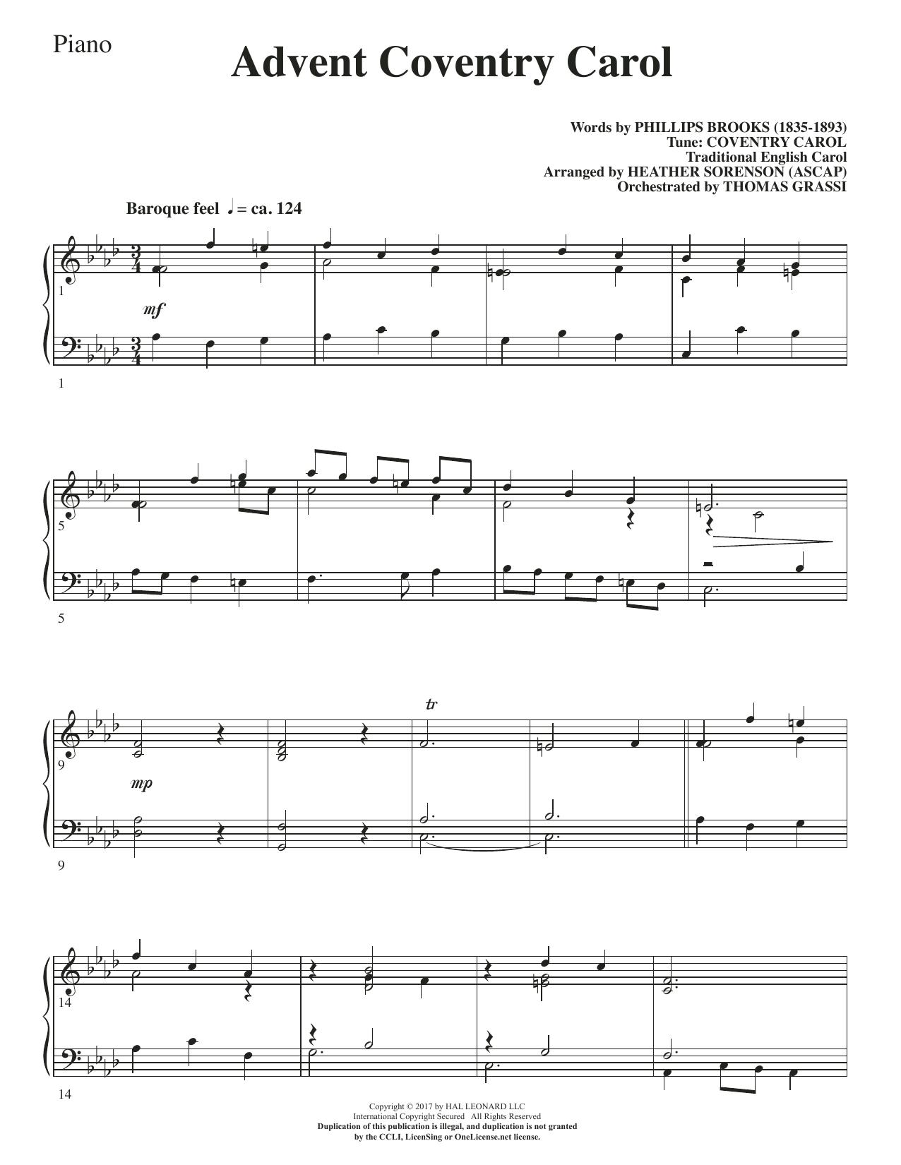 Advent Coventry Carol - Piano (Choir Instrumental Pak)