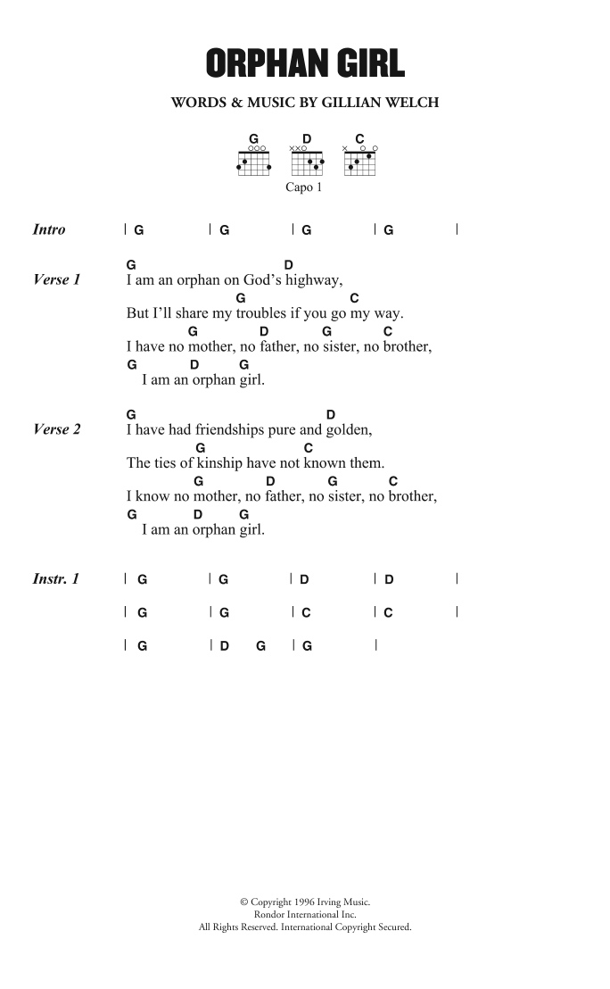 Orphan Girl Sheet Music | Gillian Welch | Lyrics & Chords