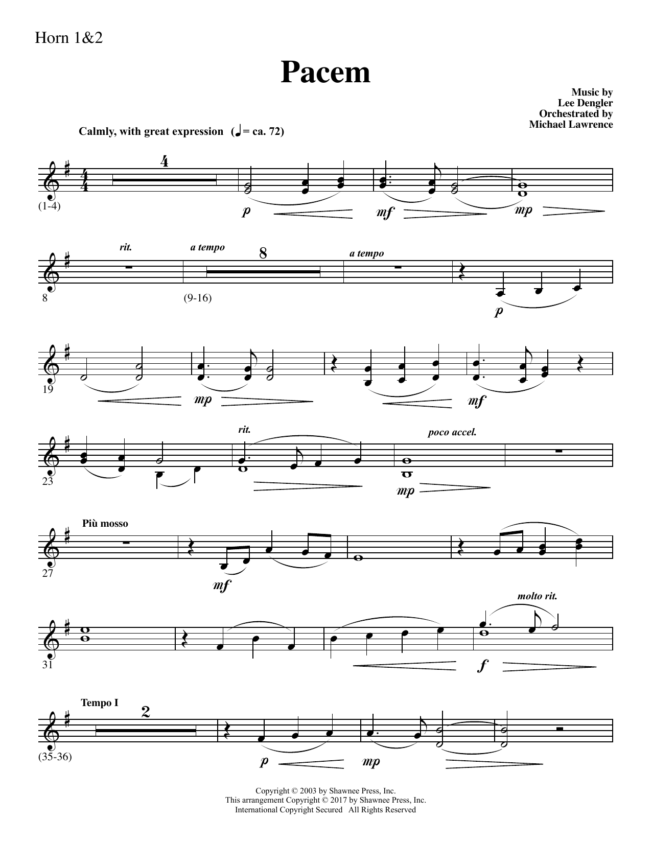 Pacem - F Horn 1,2 (Choir Instrumental Pak)