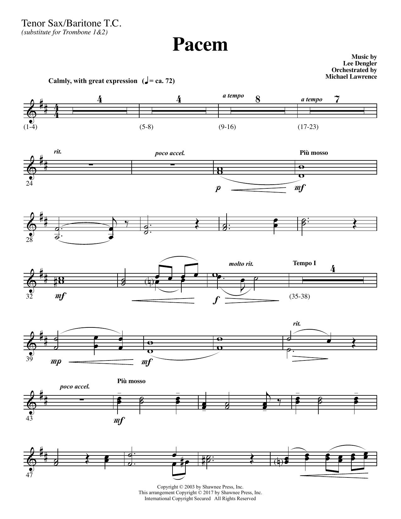 Pacem - Tenor Sax/BariTC (sub Tbn 1-2) (Choir Instrumental Pak)