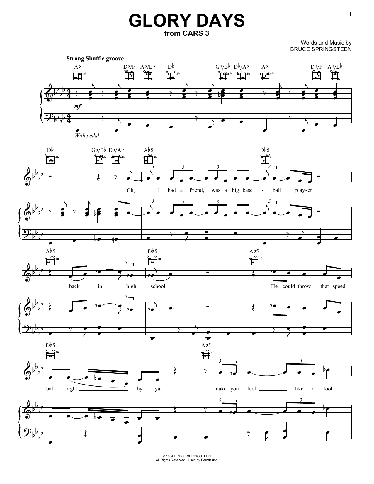 Glory Days (Piano, Vocal & Guitar (Right-Hand Melody))