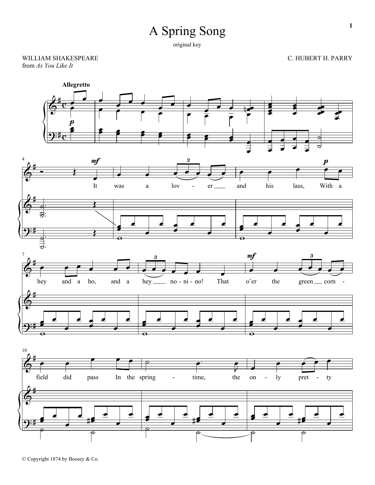 A Spring Song, Op. 21, No. 2 (Piano & Vocal)