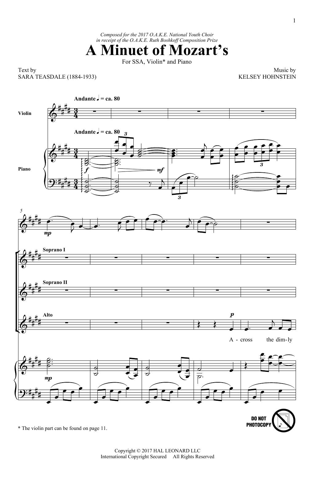 A Minuet Of Mozart's Sheet Music