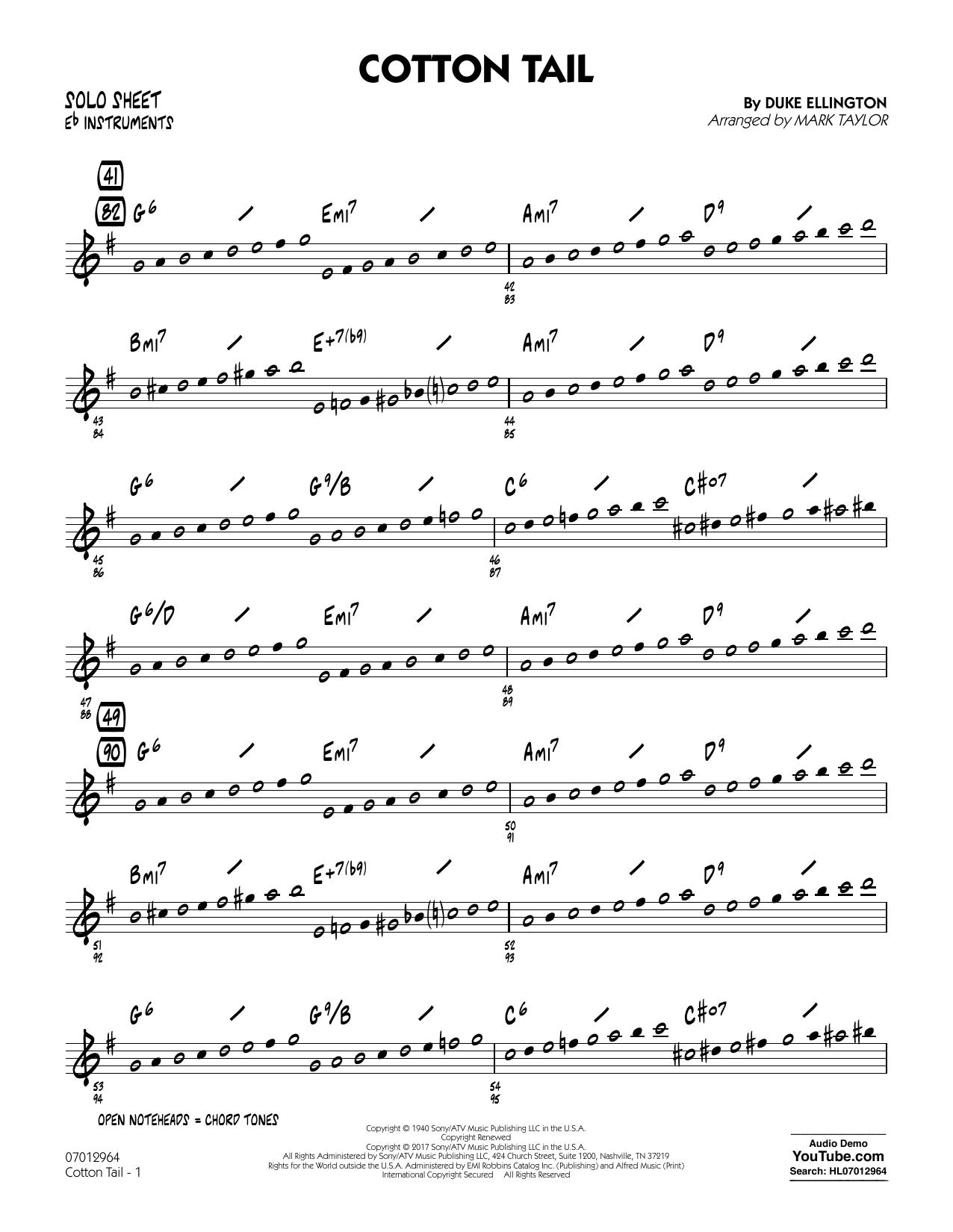Cotton Tail - Eb Solo Sheet (Jazz Ensemble)