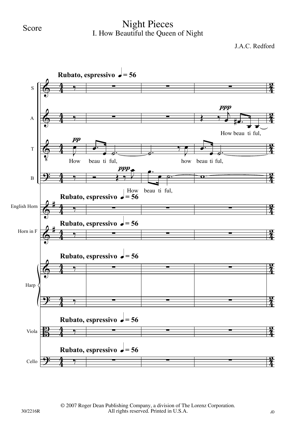 Night Pieces - Score (Choir Instrumental Pak)