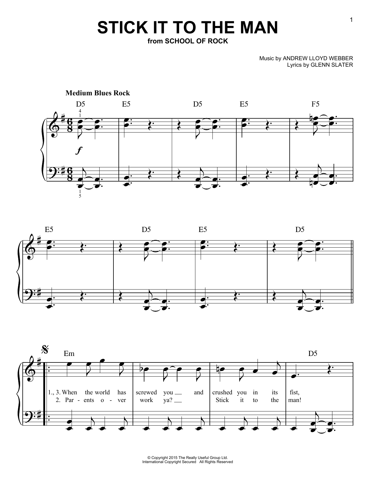 Stick It To The Man (from School of Rock: The Musical) (Easy Piano)