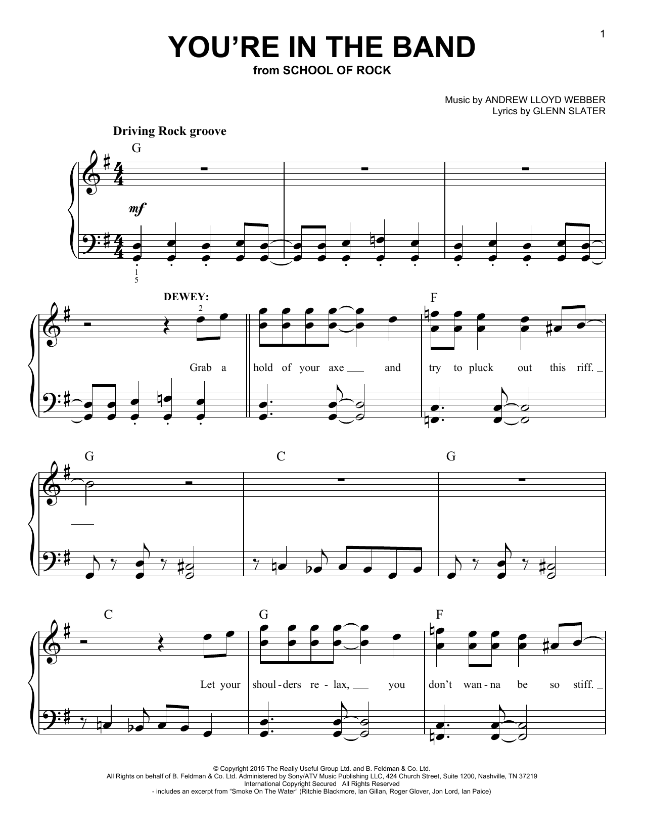 You're In The Band (from School of Rock: The Musical) (Easy Piano)
