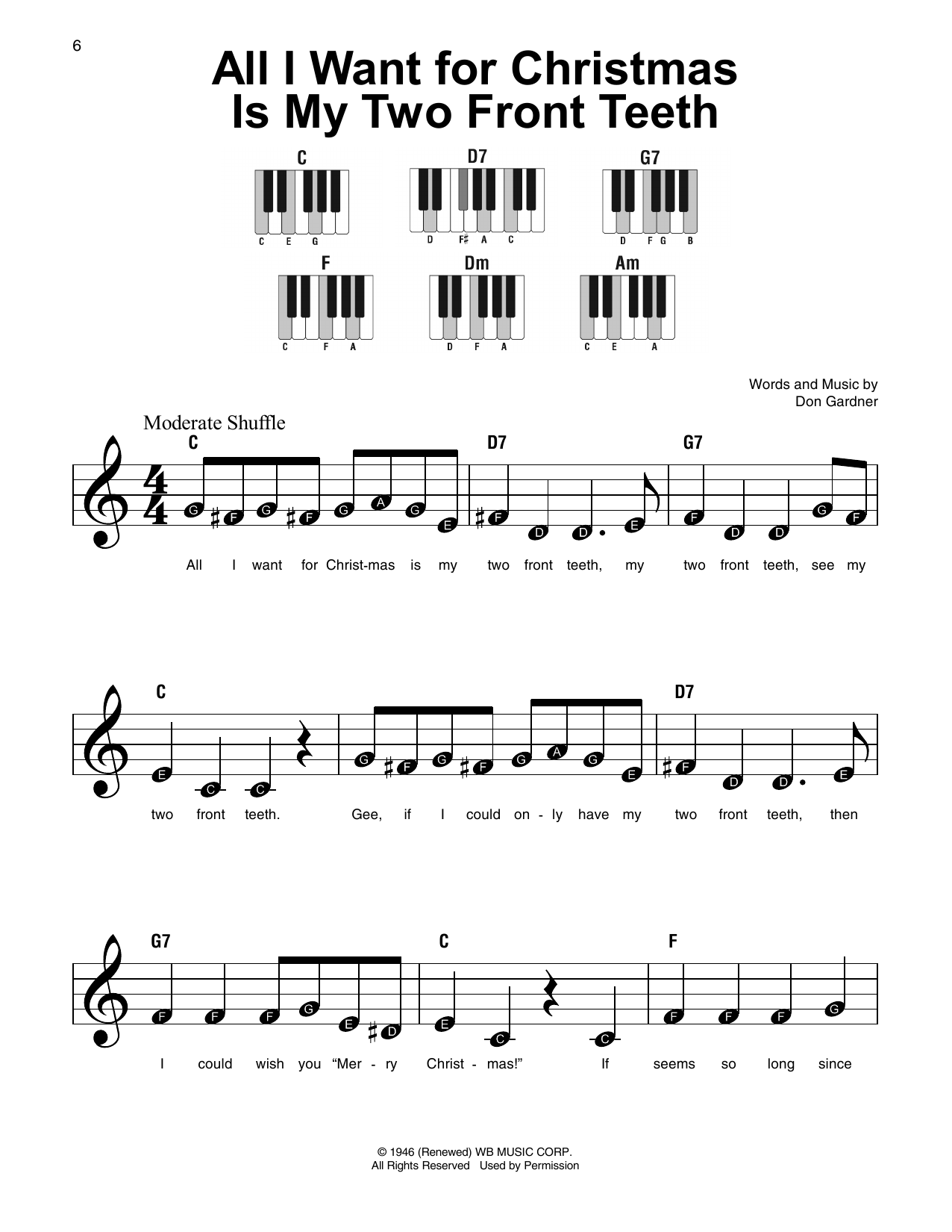 All I Want For Christmas Is My Two Front Teeth.All I Want For Christmas Is My Two Front Teeth Sheet Music