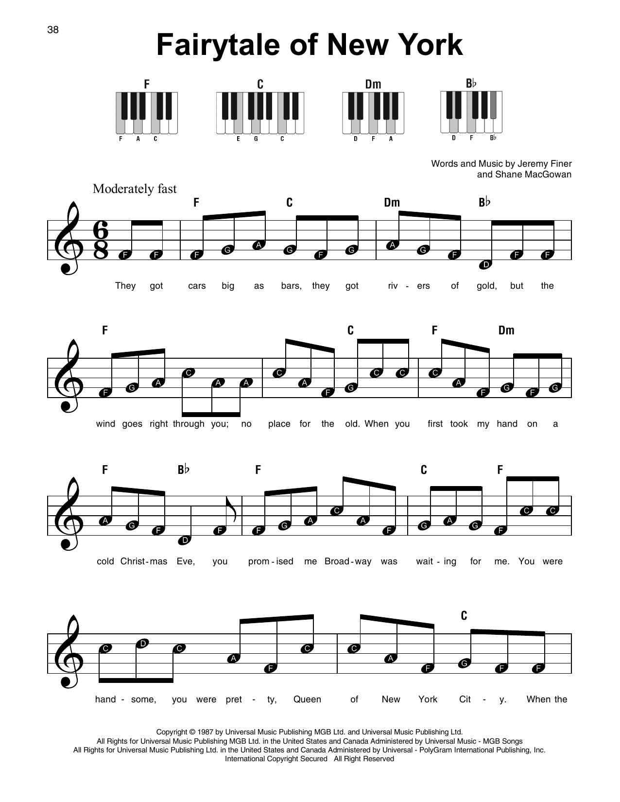The Fairytale Of New York sheet music for Piano download ...