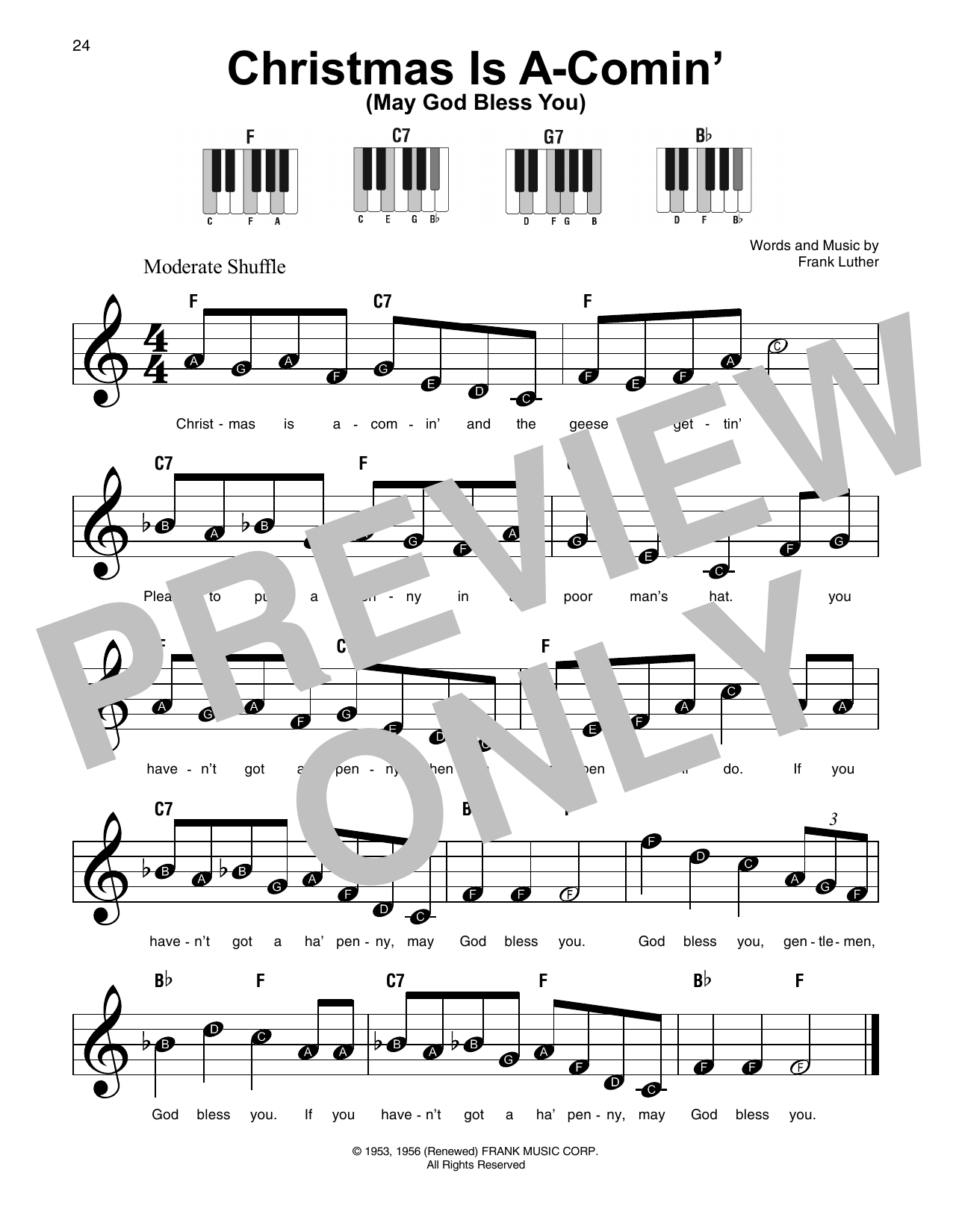 Christmas Is A-Comin' (May God Bless You) Sheet Music
