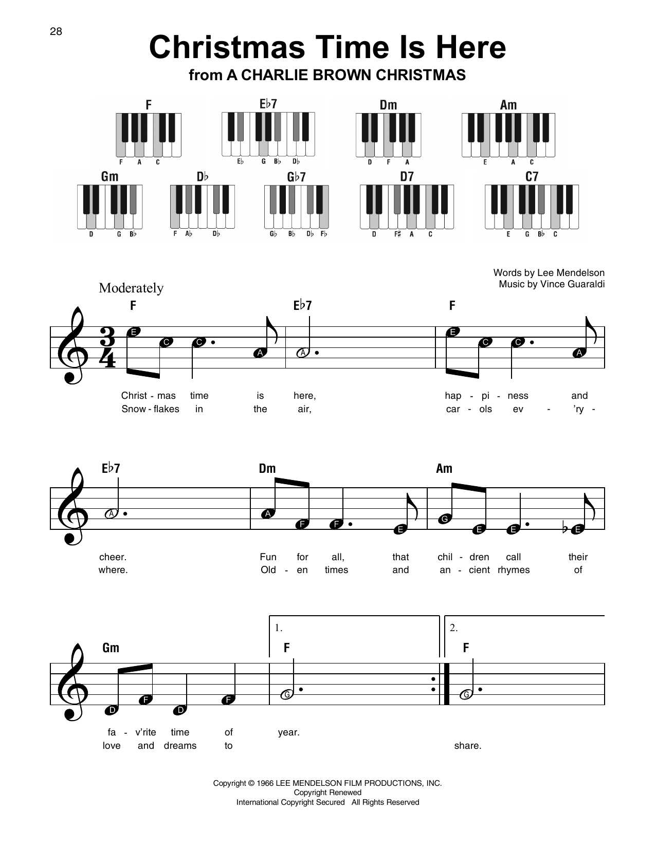 Christmas Time Is Here Piano.Christmas Time Is Here By Lee Mendelson Super Easy Piano Digital Sheet Music