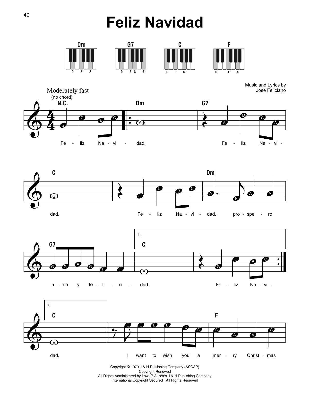 Partition piano feliz navidad de jose feliciano piano for Piano piano facile