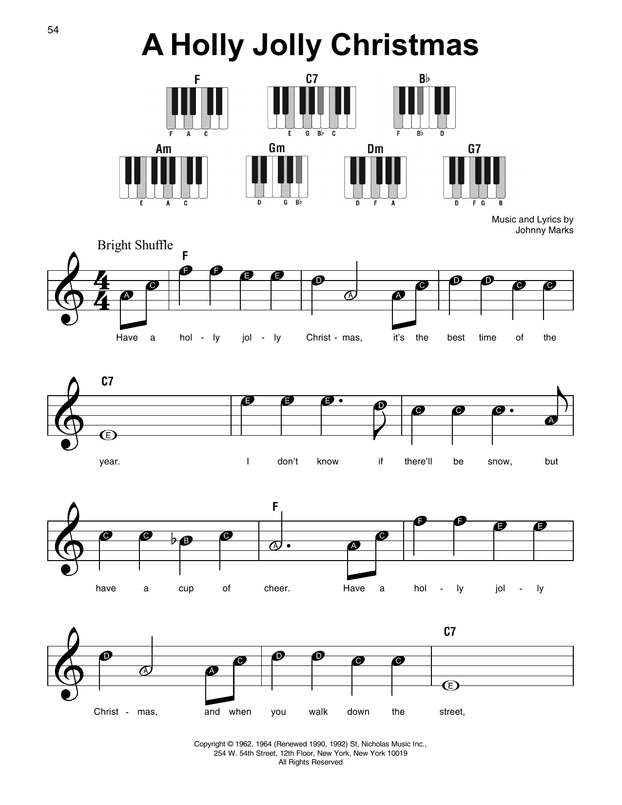 A Holly Jolly Christmas sheet music by Johnny Marks (Super Easy ...