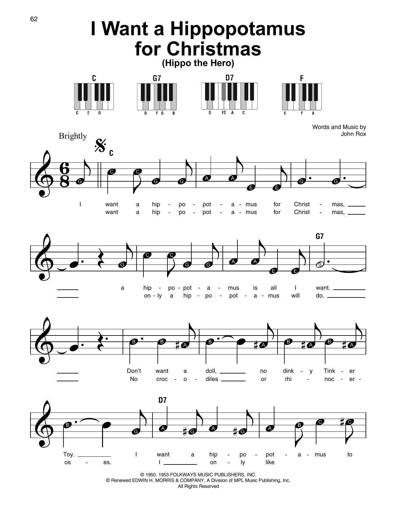 I Want A Hippopotamus For Christmas (Hippo The Hero) Sheet Music ...