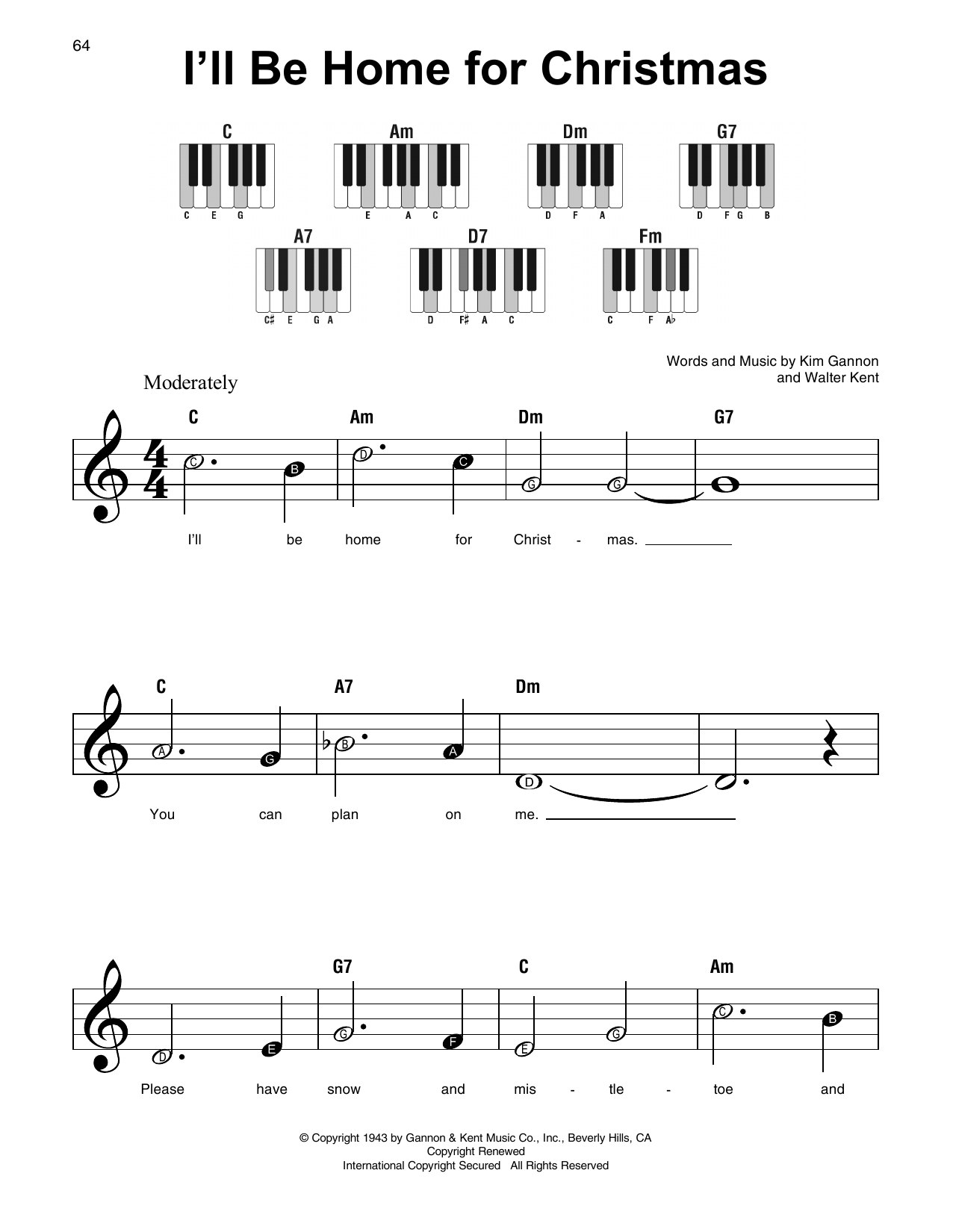 I\'ll Be Home For Christmas Sheet Music | Walter Kent | Super Easy Piano